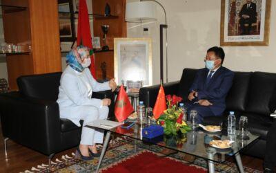 استقبلت السيدة نزهة الوفي الوزيرة المنتدبة المكلفة بالمغاربة المقيمين بالخارج، السيد شانغلين لي (Changlin LI) سفير جمهوريةالصين الشعبية لدى المملكةالمغربية اليوم الجمعة 21 ماي 2021 بمقر الوزارة المنتدبة
