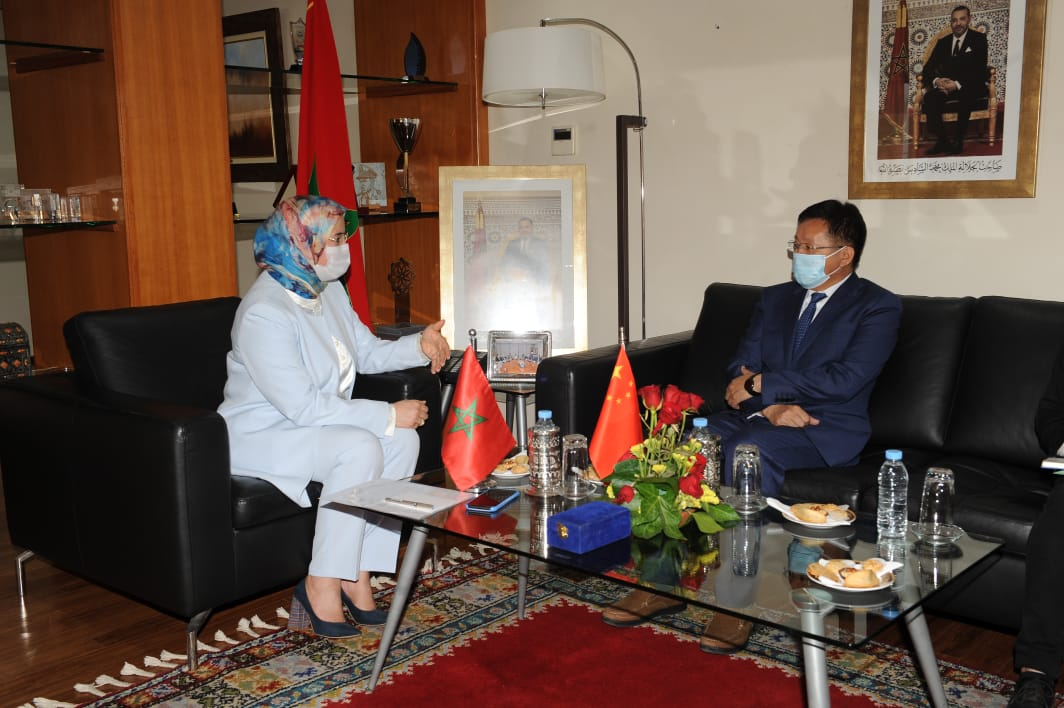 The Delegate Minister in charge of Moroccans Living Abroad Mrs. Nezha El Ouafi received, at the Delegate Ministry's Headquarter, His Excellency Mr. Changlin Li, Ambassador of the People's Republic of China on Friday 21st May 2021