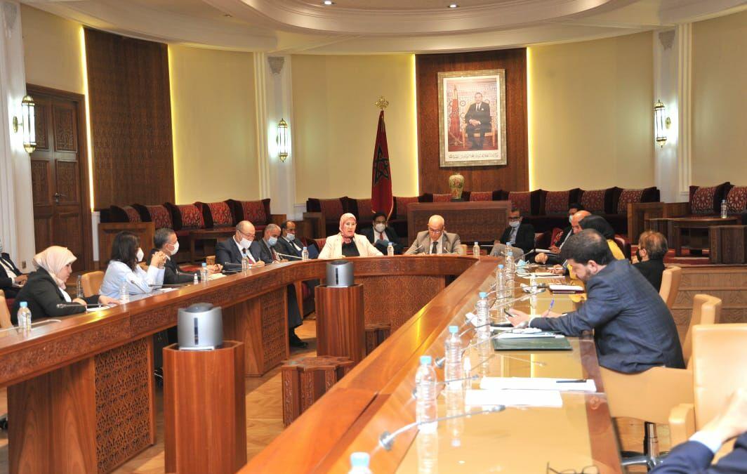 السيدة نزهة الوفي، الوزيرة المنتدبة المكلفة بالمغاربة المقيمين بالخارج، خلال  اجتماع لجنة الخارجية والدفاع الوطني والشؤون الإسلامية والمغاربة المقيمين بالخارج، صباح اليوم الثلاثاء 15 يونيو 2021  ابتداء من الساعة 11 صباحا