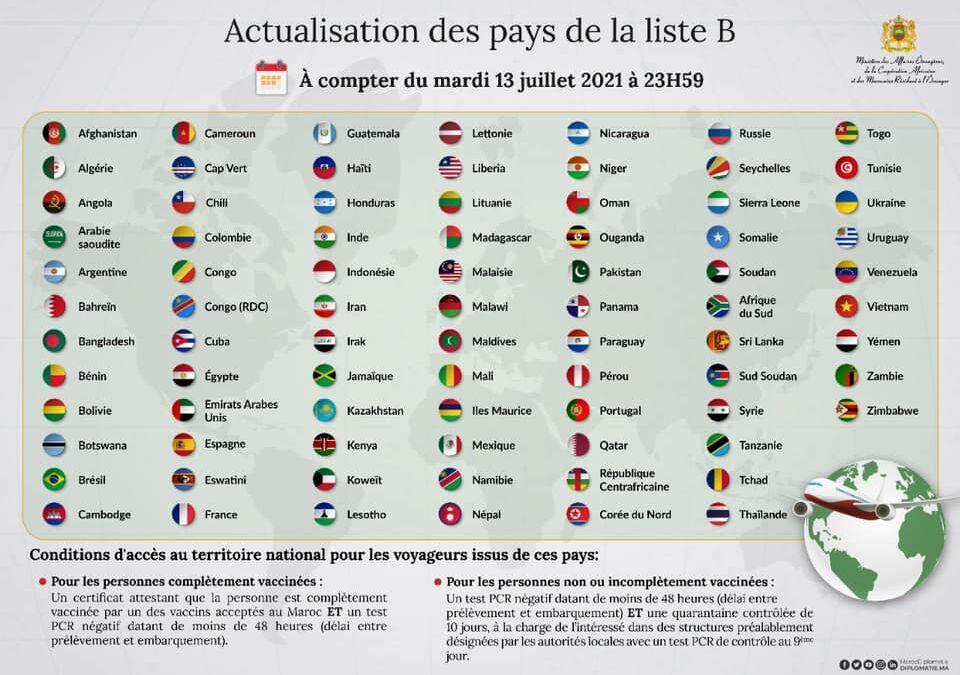 ⚠️Update: Le ministère de la Santé a procédé à la mise à jour des pays de la liste B en intégrant l'Espagne, la France et le Portugal. Ces dispositions entreront en vigueur le mardi 13 juillet 2021 à 23h59.