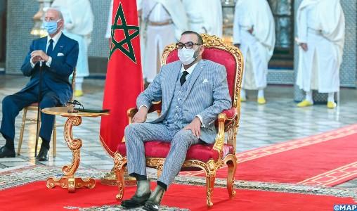 SM le Roi préside la cérémonie de lancement et de signature de conventions relatives au projet de fabrication et de mise en seringue au Maroc du vaccin anti-Covid19 et autres vaccins (Agence Marocaine de Presse)