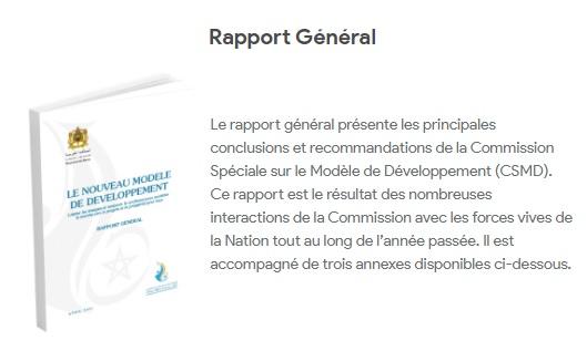Présentation du rapport général de la Commission Spéciale sur le modèle de Développement (CSMD)